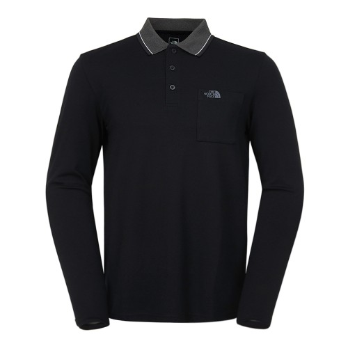 M'S TIPPED POCKET L/S POLO
